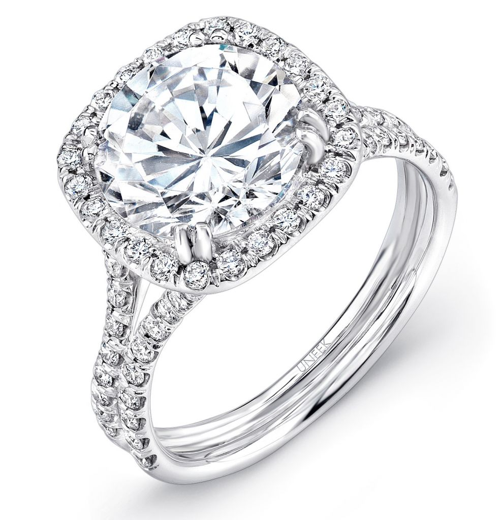 Uneek halo diamond engagement ring