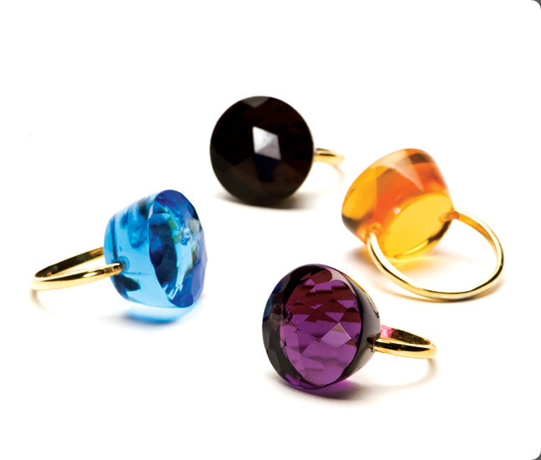 Lollipop rings in gold-plated silver with gemstones