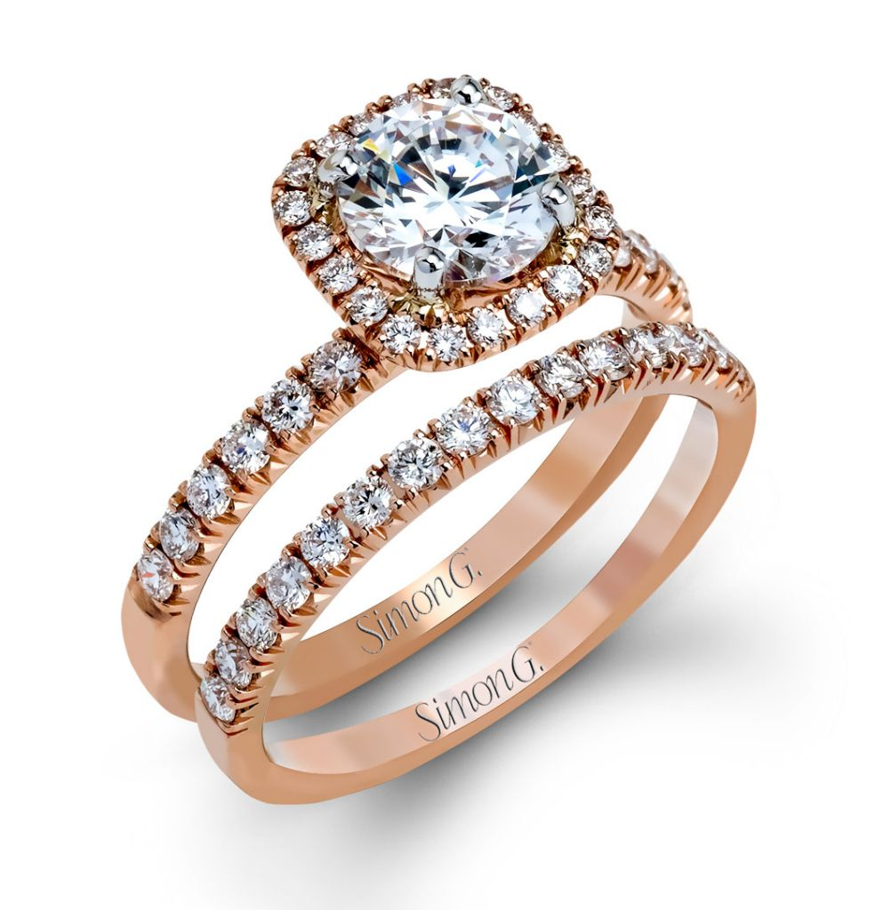 Simon G. rose gold diamond wedding set