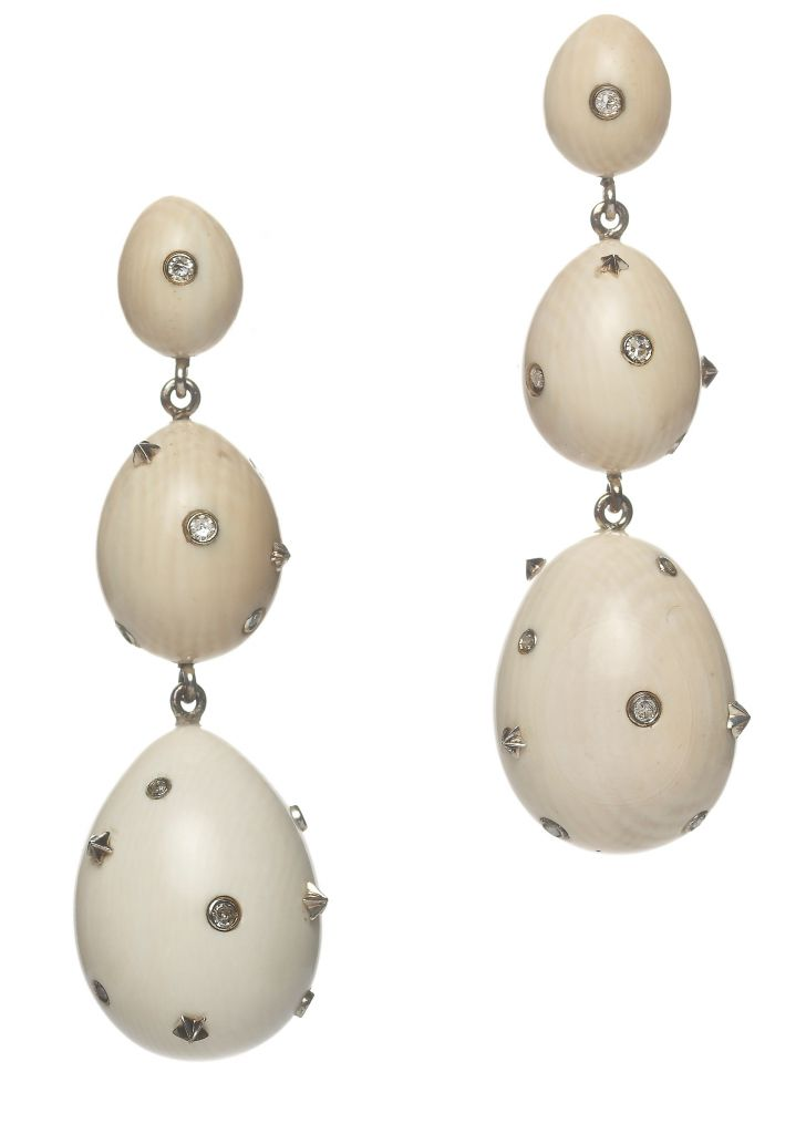 Bibi van der Velden mammoth egg drop earrings