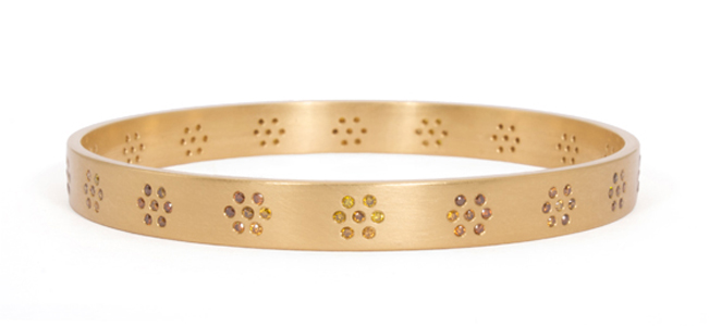 Reinstein/Ross 20k gold bangle with natural colored diamonds