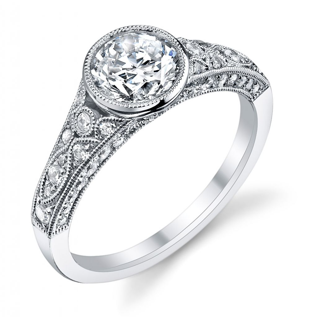 Sylvie Collection bezel-set filigree engagement ring