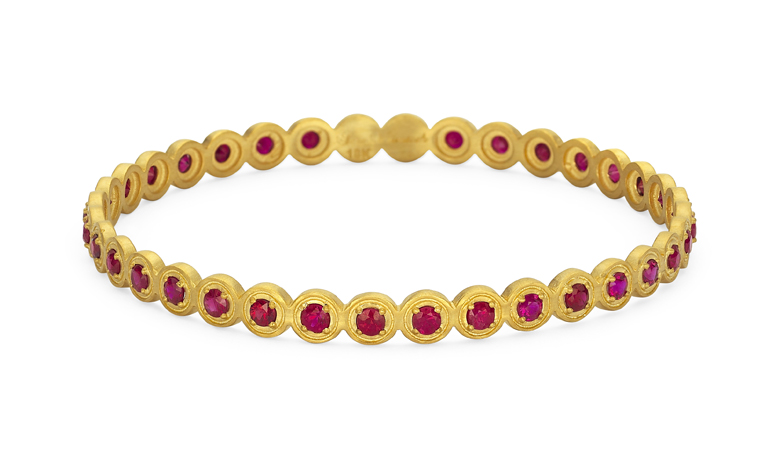 Sara Weinstock ruby and gold bangle