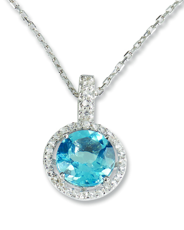 Pendant necklace in silver with CZ