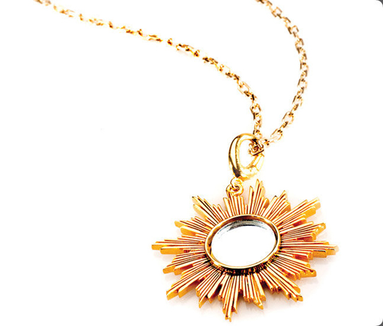 Charmed Circle Italian Sunburst mirror necklace in gold-plated silver