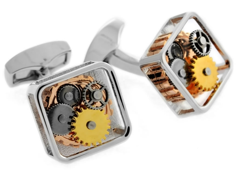 Tateossian silver Gear cufflinks
