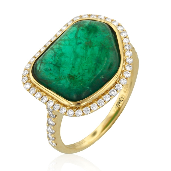 Yael emerald slice diamond halo ring