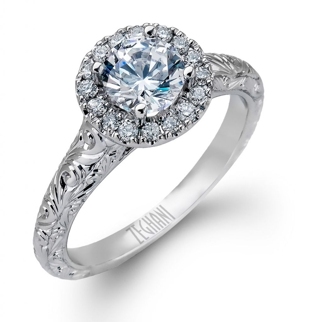 Zeghani halo diamond engagement ring