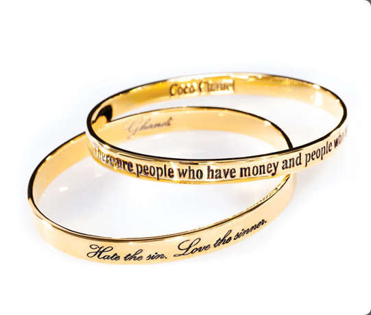 Words to Live by bracelets in gold-plated silver by Charmed Circle