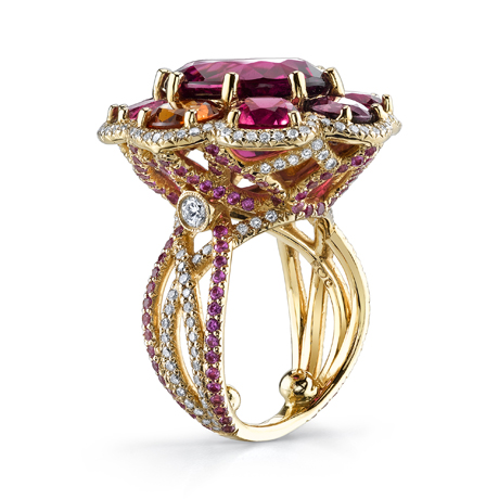 Erica Courtney gemstone, diamond, and gold ring