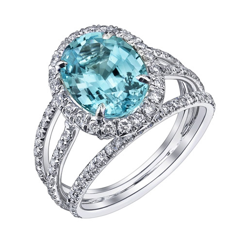 Hubert triple row paraiba tourmaline ring