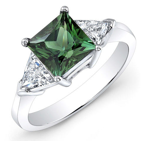 Carl K. Gumpert green tourmaline and diamond ring