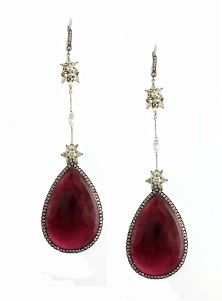 Vivaan by YNY pink tourmaline drop earrings