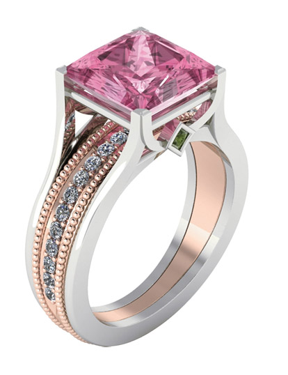 Stuller pink tourmaline two-tone ring