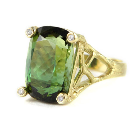 Denise James Stardrop green tourmaline ring