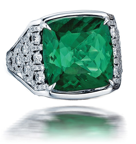Frederic Sage green tourmaline and diamond ring