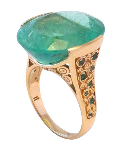 Jane Taylor Jewelry Rosebud mint green tourmaline ring