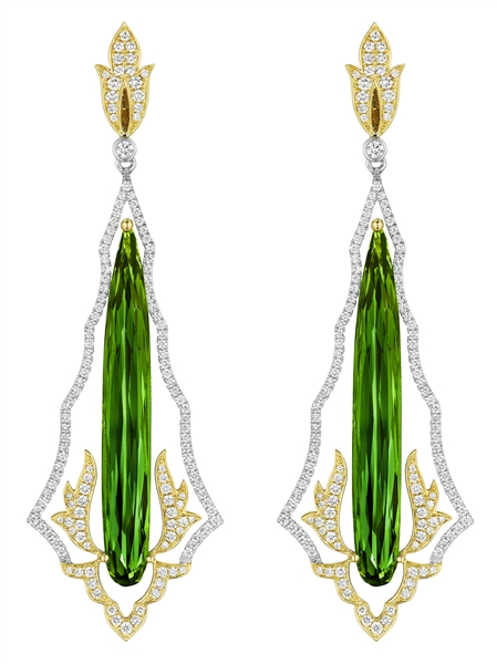 Spark Creations green tourmaline flame earrings