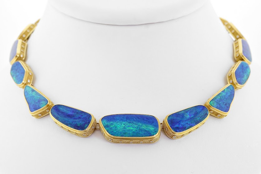 Blue Waters necklace with opal 1st Place Business/Day Wear by Jonathan Lee Rutledge AGTA Spectrum