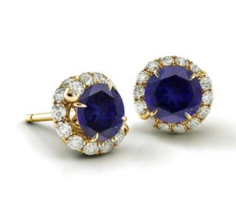 earrings in gold with sapphire from Danhov's Abbracio collection