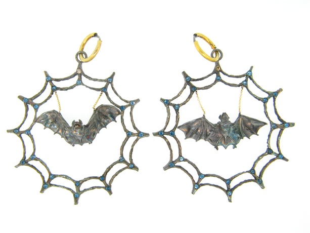 Web and Bat earrings in silver with 24k gold, topaz, and diamonds by Atelier Minyon