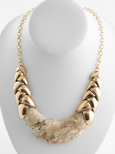 Barse opal necklace in bronze