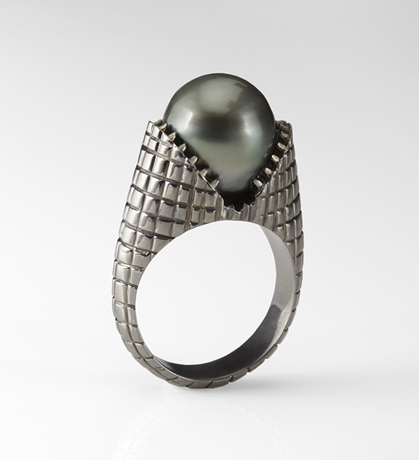 Teeth ring in sterling with a Tahitian pearl by Slight Jewelry