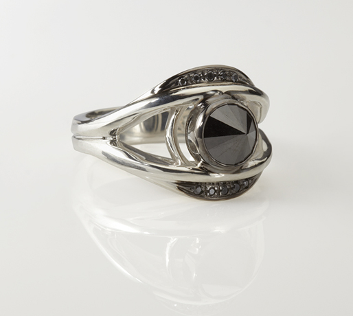 Eye ring in silver with black rhodium and black diamonds by Slight Jewelry
