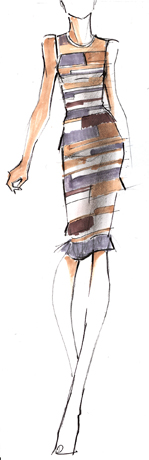 Herves Leger sketch for Pantone