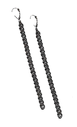 Earrings in silver with black rhodium and black diamonds by Lyon Fine Jewelry at Luxe Intelligence