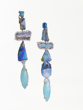 Earrings with Australian and Andean opal by Mauro Felter