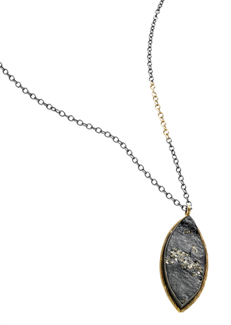 Amali slate, gold, and silver necklace