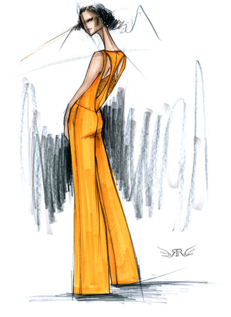 Sketch of Rachel Roy pantsuit for Pantone