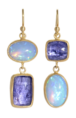 Opal and tanzanite earrings by Stephanie Albertson