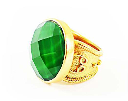 Stephanie Kantis 24k gold-dipped bronze ring with green topaz
