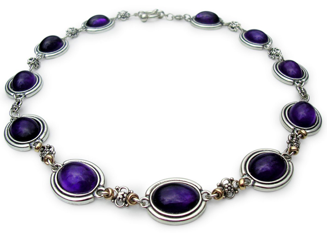 Amethyst and silver and 14k gold necklace by Jewel Couture