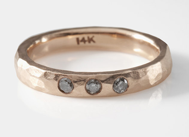 Hand-hammered band in 14k rose gold with gray diamonds by Slight Jewelry