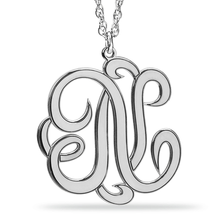 Overnight Mountings white gold monogram pendant