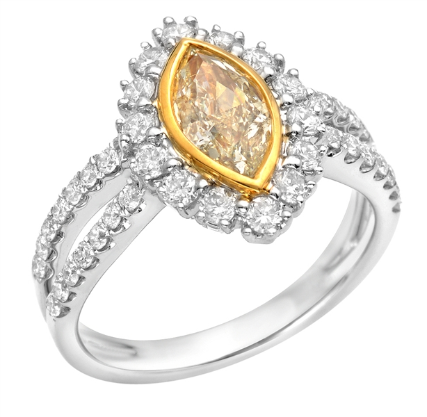 Almor Designs fancy diamond bezel engagement ring