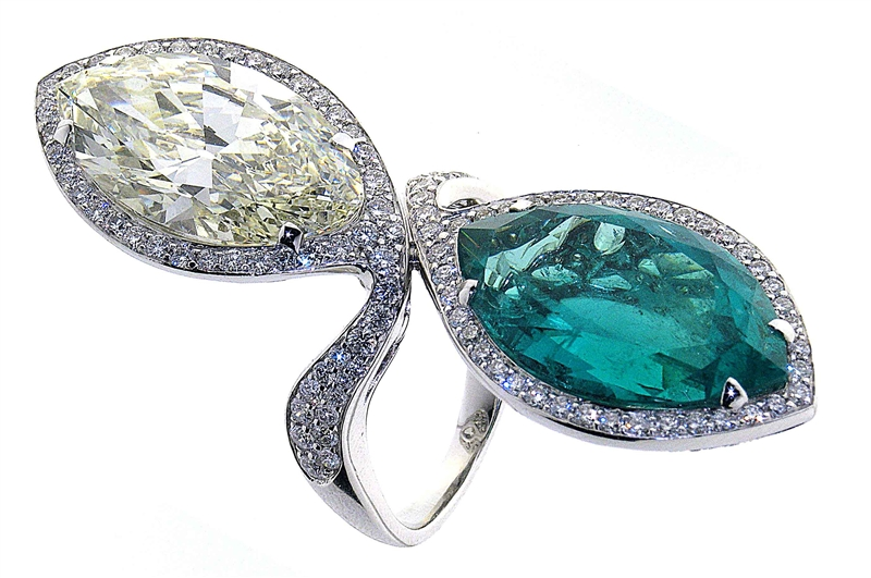 TA Fine Jewelry emerald and diamond marquise ring