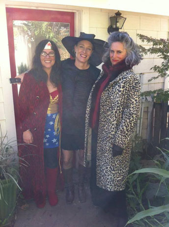 A trio from Jennifer Dawes Design (Jennifer is in the center) in Santa Rosa, Calif., as Wonder Woman, a witch, and a lady who likes cheetah-print coats (IDK who she is supposed to be)