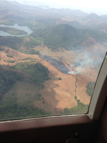 Shot of a slash-and-burn happenstance we caught on the flight to the pearl farms