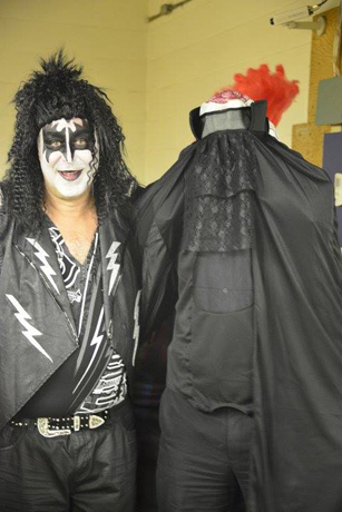 Peter Bazar, president of Imperial, and Peter S. Ward, national account executive at Imperial, as Gene Simmons from KISS and the headless horseman
