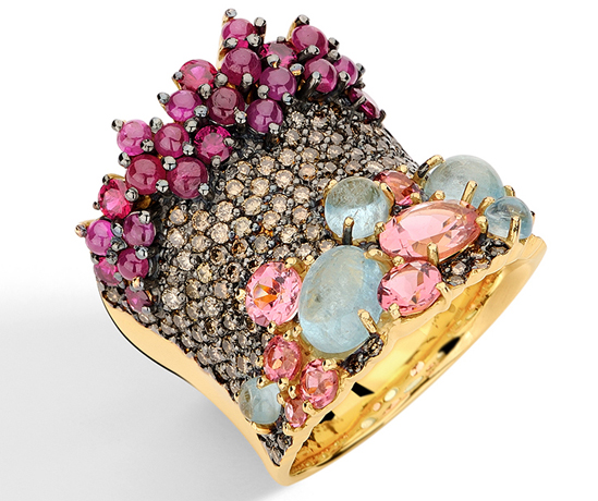 Brumani multicolored gemstone and karat gold ring
