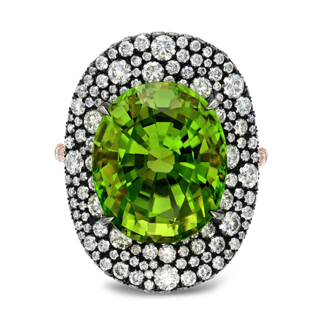 Peridot and gold ring from Tamir Jewels