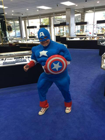 store manager for 42 years at Adolf Jewelers in Richmond, Va., dressed up as Captain America