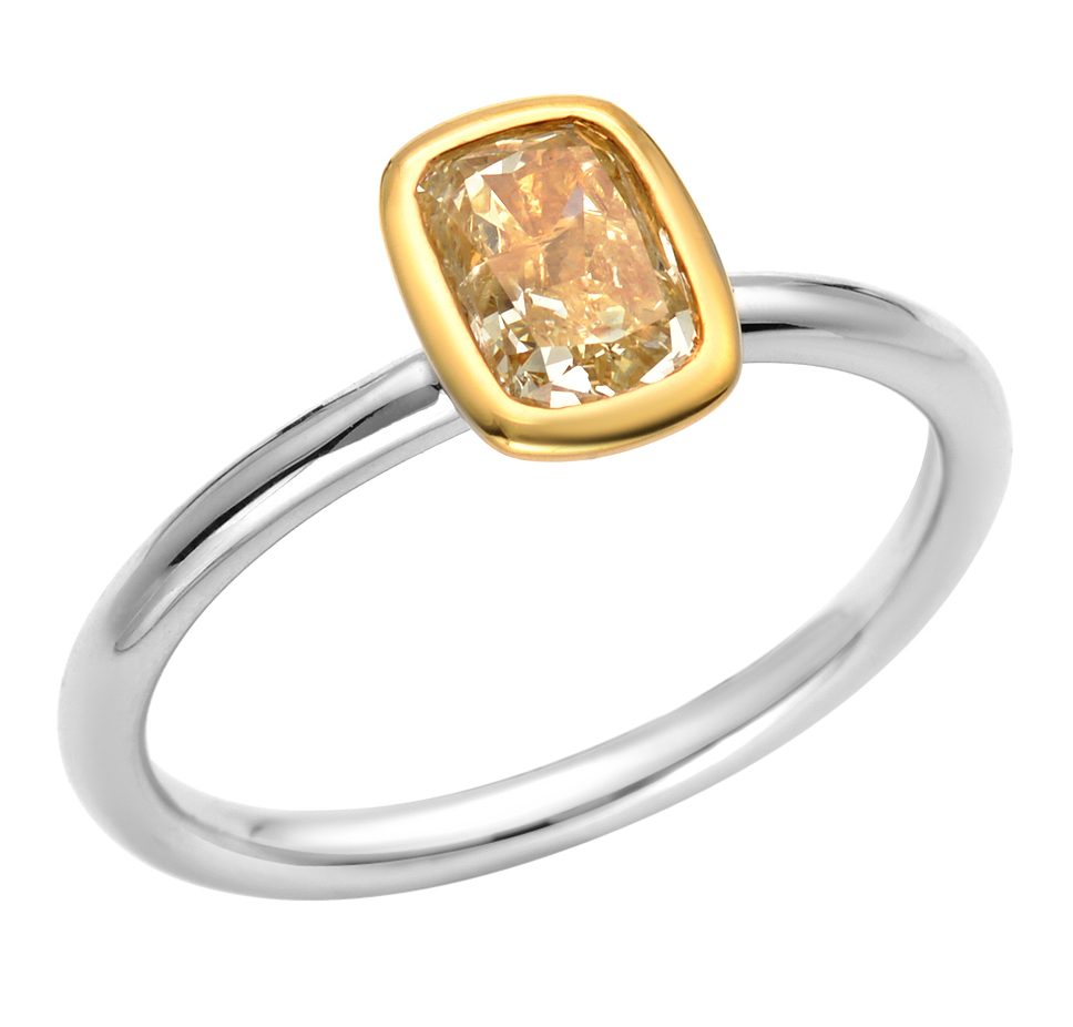 Almor Designs fancy solitaire bezel ring
