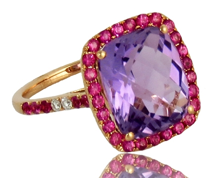 COGE Design Group amethyst and pink sapphire ring