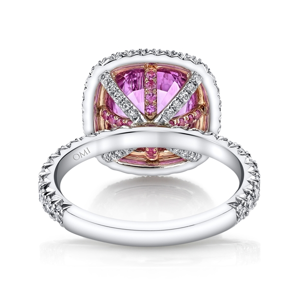 Omi Prive pink sapphire double halo ring