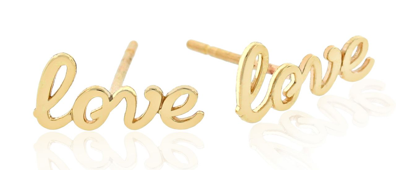 Charm America 'love' stud earrings